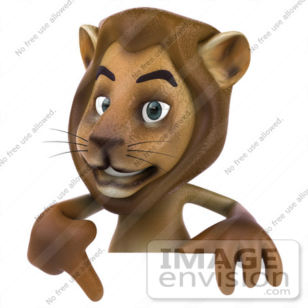 #43546 Royalty-Free (RF) Illustration of a 3d Lion Mascot Pointing To And Standing Behind A Blank Sign by Julos