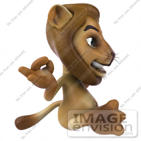 #43547 Royalty-Free (RF) Illustration of a 3d Lion Mascot Meditating - Pose 2 by Julos