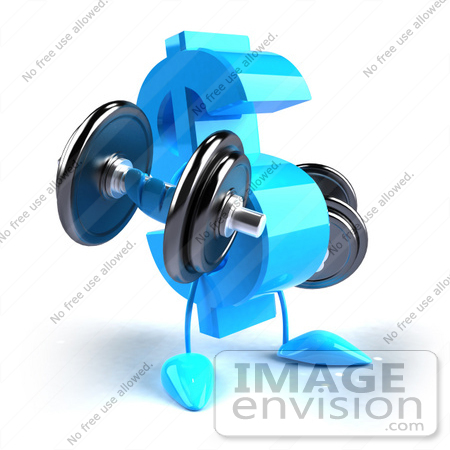 #43582 Royalty-Free (RF) Illustration of a 3d Blue Dollar Sign Mascot Lifting Weights by Julos
