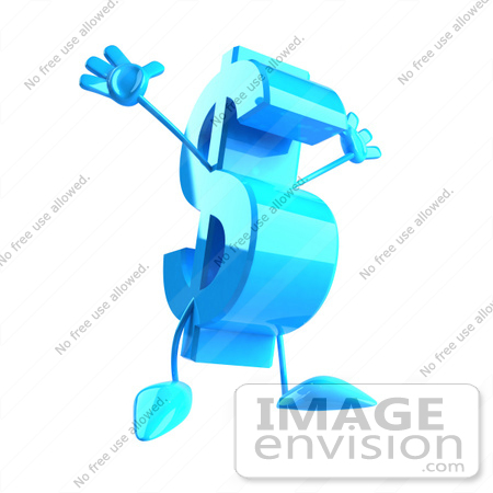 #43584 Royalty-Free (RF) Illustration of a Leaping 3d Blue Dollar Sign Mascot With Arms And Legs by Julos
