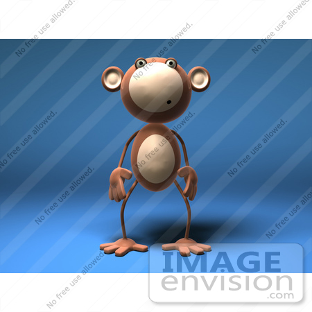 #43597 Royalty-Free (RF) Illustration of a 3d Monkey Mascot With A Confused Expression - Version 1 by Julos
