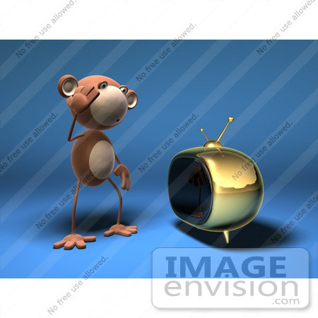 #43599 Royalty-Free (RF) Illustration of a 3d Monkey Mascot Watching Tv - Version 1 by Julos