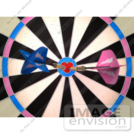 #43607 Royalty-Free (RF) Illustration of a Dartboard With Darts - Version 2 by Julos