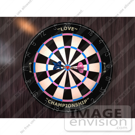 #43608 Royalty-Free (RF) Illustration of a Dartboard With Darts - Version 3 by Julos