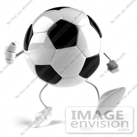 #43611 Royalty-Free (RF) Illustration of a 3d Soccer Ball Mascot With Arms And Legs, Walking Forward by Julos