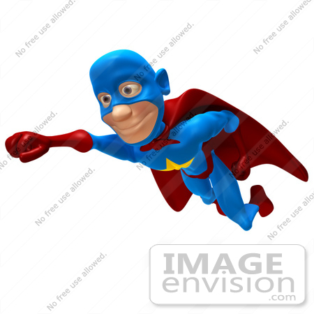 #43641 Royalty-Free (RF) Cartoon Illustration of a Male 3d Superhero Mascot Smiling And Flying Slightly Left by Julos