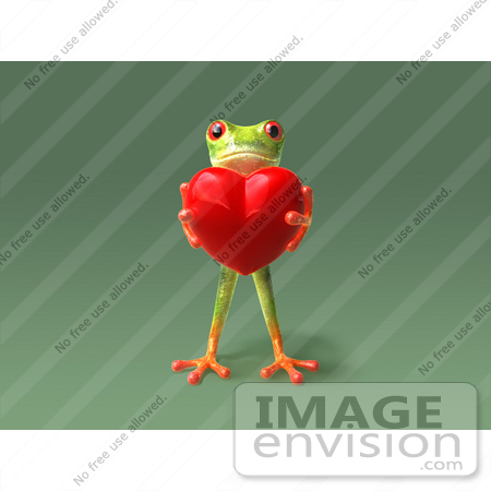 #43645 Royalty-Free (RF) Cartoon Illustration of a 3d Green Tree Frog Character Holding A Love Heart - Pose 5 by Julos