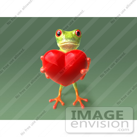 #43647 Royalty-Free (RF) Cartoon Illustration of a 3d Green Tree Frog Character Holding A Love Heart - Pose 6 by Julos