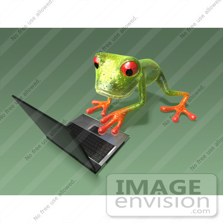 #43652 Royalty-Free (RF) Cartoon Illustration of a 3d Green Tree Frog Character Using A Laptop - Pose 6 by Julos