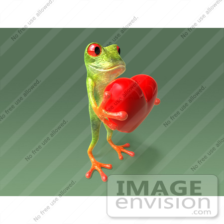#43653 Royalty-Free (RF) Cartoon Illustration of a 3d Green Tree Frog Character Holding A Love Heart - Pose 8 by Julos