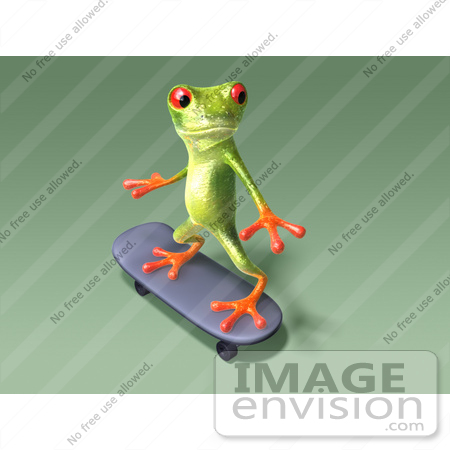 #43663 Royalty-Free (RF) Cartoon Illustration of a 3d Green Tree Frog Character Skateboarding - Pose 9 by Julos