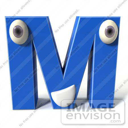 M Alphabet In 3d ... 3d Blue Alphabet Letter M Character With Eyes And A Mouth by Julos