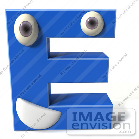 #43692 Royalty-Free (RF) Illustration of a 3d Blue Alphabet Letter E Character With Eyes And A Mouth by Julos