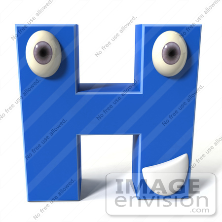 #43693 Royalty-Free (RF) Illustration of a 3d Blue Alphabet Letter H Character With Eyes And A Mouth by Julos