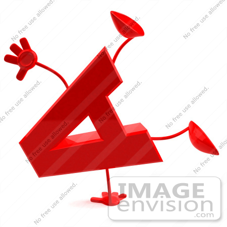 Royalty-free clip art illustration of a 3d red letter A character with ...