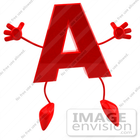 #43718 Royalty-Free (RF) Illustration of a 3d Red Letter A Character With Arms And Legs by Julos