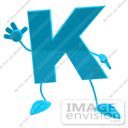#43757 Royalty-Free (RF) Illustration of a 3d Turquoise Letter K Character With Arms And Legs by Julos
