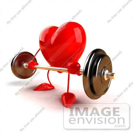 #43766 Royalty-Free (RF) Illustration of a Romantic 3d Red Love Heart Mascot Lifting A Barbell - Version 3 by Julos