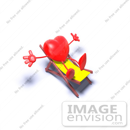 #43769 Royalty-Free (RF) Illustration of a Romantic 3d Red Love Heart Mascot Sun Bathing In A Chair - Version 5 by Julos