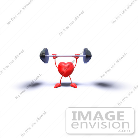 #43781 Royalty-Free (RF) Illustration of a Romantic 3d Red Love Heart Mascot Lifting A Barbell - Version 7 by Julos
