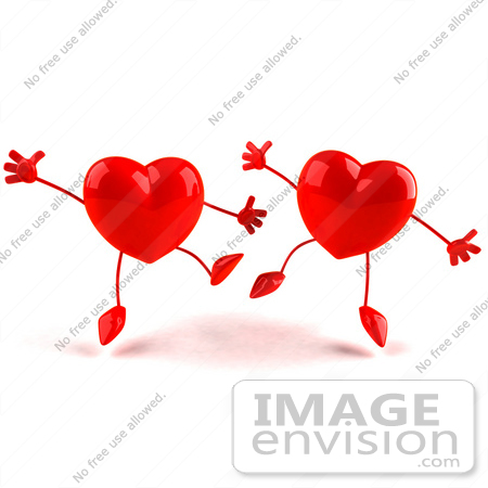 #43784 Royalty-Free (RF) Illustration of Two Happy 3d Red Love Heart Characters  Jumping - Version 2 by Julos