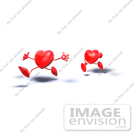 #43785 Royalty-Free (RF) Illustration of Two 3d Red Love Heart Characters Running - Version 1 by Julos
