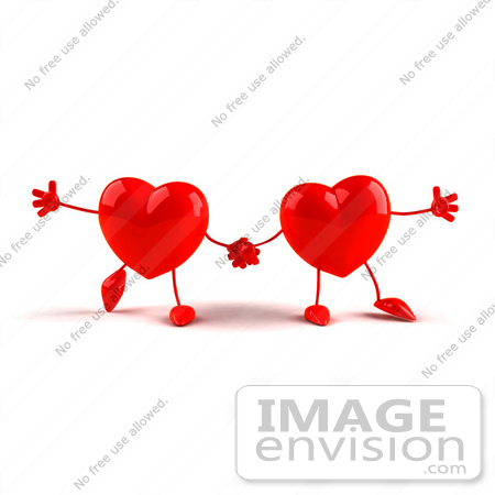 #43790 Royalty-Free (RF) Illustration of Two 3d Red Love Heart Characters Holding Hands by Julos