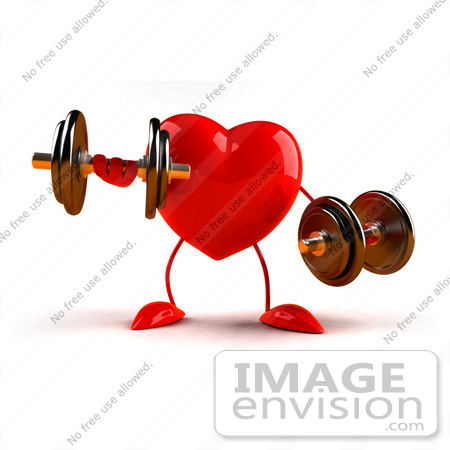 #43791 Royalty-Free (RF) Illustration of a Romantic 3d Red Love Heart Mascot Strength Training With Dumbbells - Version 3 by Julos