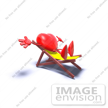 #43793 Royalty-Free (RF) Illustration of a Romantic 3d Red Love Heart Mascot Sun Bathing In A Chair - Version 6 by Julos