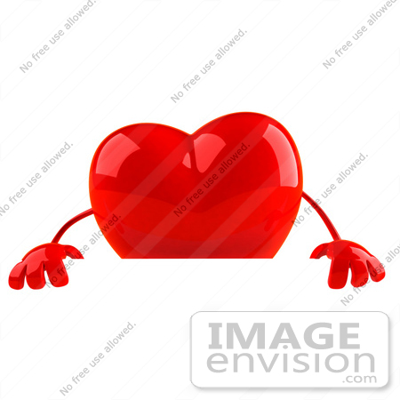 #43798 Royalty-Free (RF) Illustration of a Romantic 3d Red Love Heart Mascot Standing Behind A Blank Sign by Julos
