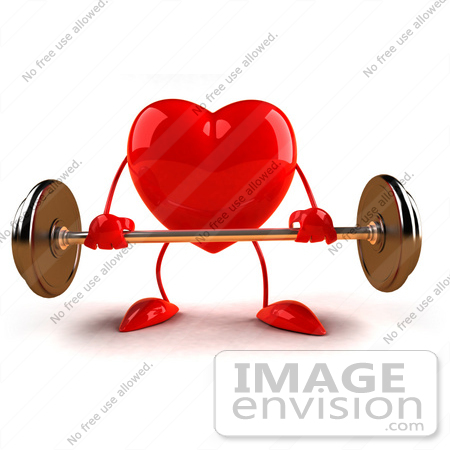 #43800 Royalty-Free (RF) Illustration of a Romantic 3d Red Love Heart Mascot Lifting A Barbell - Version 6 by Julos