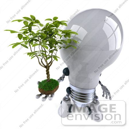 #43842 Royalty-Free (RF) Illustration of a 3d Robotic Incandescent  Light Bulb Mascot Holding A Plant - Version 3 by Julos