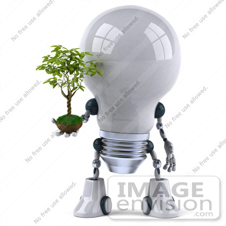 #43843 Royalty-Free (RF) Illustration of a 3d Robotic Incandescent  Light Bulb Mascot Holding A Plant - Version 1 by Julos