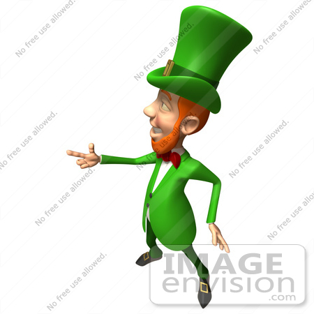 #43853 Royalty-Free (RF) Illustration of a Friendly 3d Leprechaun Man Mascot Pointing His Hand Like A Gun - Version 4 by Julos