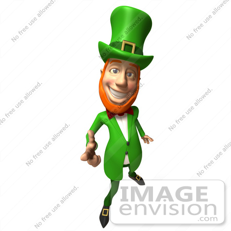 #43868 Royalty-Free (RF) Illustration of a Friendly 3d Leprechaun Man Mascot Pointing His Hand Like A Gun - Version 3 by Julos