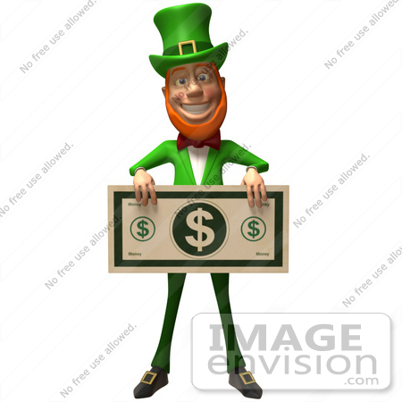 #43873 Royalty-Free (RF) Illustration of a Friendly 3d Leprechaun Man Mascot Holding A Large Dollar Bill - Version 3 by Julos