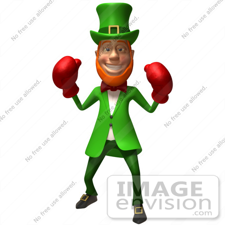 #43874 Royalty-Free (RF) Illustration of a Friendly 3d Leprechaun Man Mascot Boxing - Version 1 by Julos