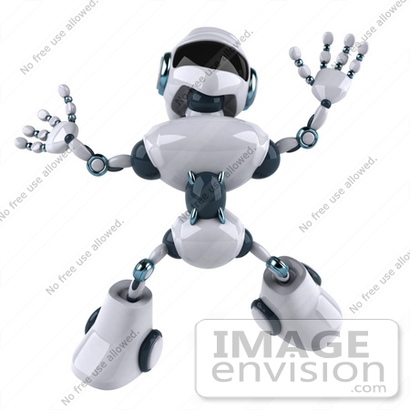 #43892 Royalty-Free (RF) Illustration of a 3d Robot Mascot Jumping by Julos
