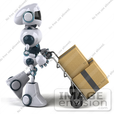 #43902 Royalty-Free (RF) Illustration of a 3d Robot Mascot Pushing Boxes On A Dolly - Version 1 by Julos