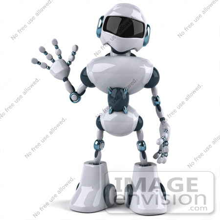 #43903 Royalty-Free (RF) Illustration of a 3d Robot Mascot Waving - Version 1 by Julos