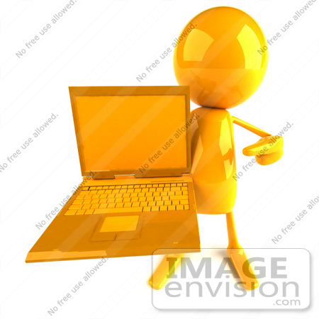 #43948 Royalty-Free (RF) Illustration of a 3d Orange Man Mascot Holding A Laptop by Julos