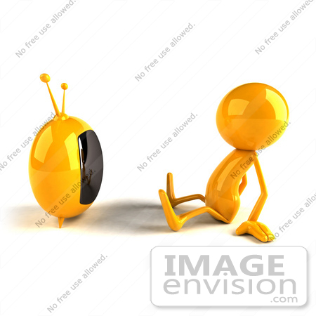 #43953 Royalty-Free (RF) Illustration of a 3d Orange Man Mascot Watching Television - Version 1 by Julos