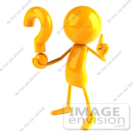 #43956 Royalty-Free (RF) Illustration of a 3d Orange Man Mascot Holding A Question Mark - Version 2 by Julos