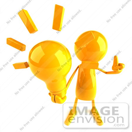 #43972 Royalty-Free (RF) Illustration of a 3d Orange Man Mascot Holding A Light Bulb - Version 3 by Julos