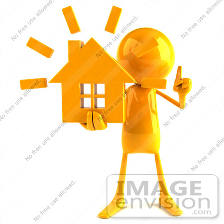 #43973 Royalty-Free (RF) Illustration of a 3d Orange Man Mascot Holding A House - Version 1 by Julos