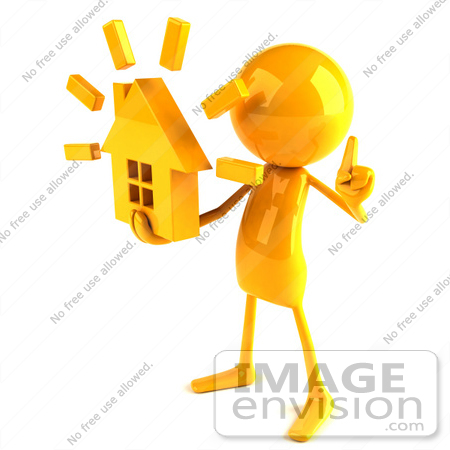#43977 Royalty-Free (RF) Illustration of a 3d Orange Man Mascot Holding A House - Version 2 by Julos