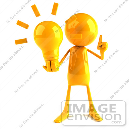 #43984 Royalty-Free (RF) Illustration of a 3d Orange Man Mascot Holding A Light Bulb - Version 1 by Julos
