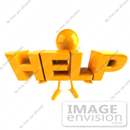 #43986 Royalty-Free (RF) Illustration of a 3d Orange Man Mascot Holding HELP - Version 3 by Julos