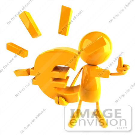 #43987 Royalty-Free (RF) Illustration of a 3d Orange Man Mascot Holding A Euro Symbol - Version 3 by Julos
