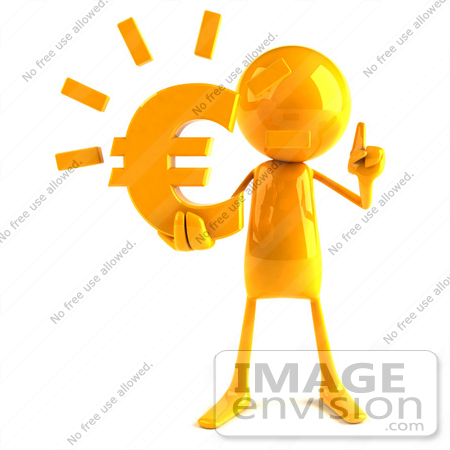 #43990 Royalty-Free (RF) Illustration of a 3d Orange Man Mascot Holding A Euro Symbol - Version 1 by Julos